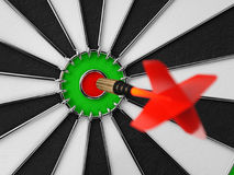 Darts arrow in the target center. Darts in bull`s eye close up. Success hitting concept 3d illustration Stock Photography