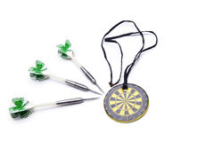 Darts arrows and medal isolated on white background Royalty Free Stock Image