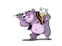 Darts bear. Bear playing darts in cafe Royalty Free Stock Photography