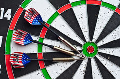 Darts on board Stock Photography