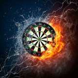 Darts Board. In Fire and Water Isolated on Black Background Stock Image