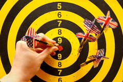 Darts board. With uk and usa darts stock photo
