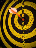 Darts board and arrows in the target center Stock Image