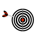 Darts board and darts arrow. Black and red illustration of a darts . Vector icon  on white background. Stock Photography