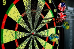 Darts. Board with US and UK flags Stock Image