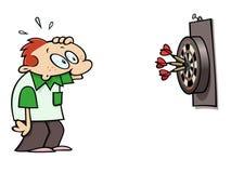 Darts bulls eye. Surprised darts player looking at the triple bulls eye result royalty free illustration