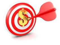 Darts Bulls eye gold dollar symbol Royalty Free Stock Image
