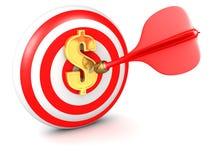 Darts Bulls eye gold dollar symbol royalty free stock image