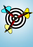 Darts bullseye. On blue background Stock Image