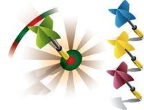 Darts on bullseye Royalty Free Stock Images