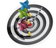 Darts on bullseye Stock Photography