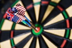 Darts on a bullseye. Three darts on a bullseye Stock Photos