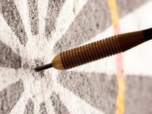 Darts in bullseye stock photo