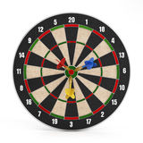 Darts at the center of the isolated target Stock Image