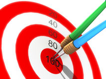 Darts in center of target Royalty Free Stock Image