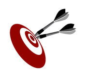 Darts in centre of target Royalty Free Stock Photos