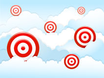 Darts in the cloud. Vector illustration of darts as the target with the cloud background. Available copy space for your text Royalty Free Stock Images