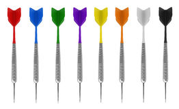 Darts. 3d render of darts in various colors idolated on white background Stock Photo