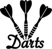 Darts Dart Arrows. Three Darts Dart Arrows with word royalty free illustration