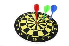 Darts on Dart Board Stock Photo