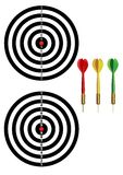 Darts and Dartboard. New and old dartboards and 3 colors of dart Stock Photos