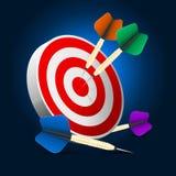 Darts. Dartboard and arrows on dark blue background Stock Image