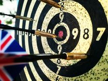 Darts on the dartboard. Close up picture of darts on the dartboard Royalty Free Stock Photography