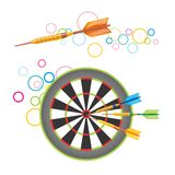 Darts with dartboard. Colorful illustration of darts flying to the target Royalty Free Stock Photo