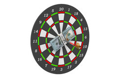 Darts and dollars in bull's-eye. Isolated on white background Stock Photos