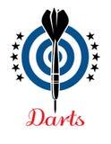Darts emblem or logo. Darts emblem with dartboard, stars and darts for sport, competition, leisure or logo design Stock Photos