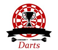 Darts emblem with trophy cup Royalty Free Stock Photos