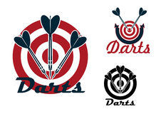 Darts emblems with dartboards and arrows Royalty Free Stock Photos