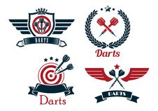 Darts emblems set. With laurel wreath, crowns ribbon banners outspread wings heraldic shield  stars and darts for sporting symbol design Stock Images
