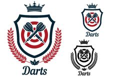 Darts emblems or signs set Stock Image