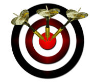 Darts entering a target Royalty Free Stock Images