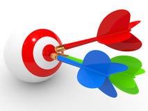 darts Esfera 3d diferente Imagens de Stock Royalty Free