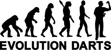 Darts Evolution. With silhouette player Royalty Free Stock Photo