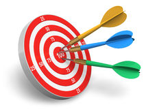 Darts game. Red circle target and color arrows isolated on white background Royalty Free Stock Photo