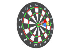 Darts 1. Darts game with dartboard and color arrows isolated on white background Royalty Free Stock Photo