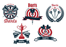 Darts game icons with dartboard and arrows Royalty Free Stock Photo