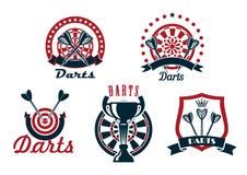 Darts game icons or symbols set Royalty Free Stock Image