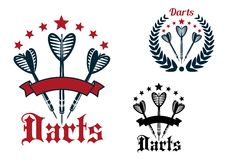 Darts game sporting icons and emblems Stock Image