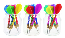 Darts in Glass Jars Stock Image