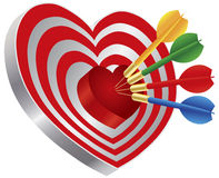 Darts on Heart Shape Bullseye Illustration Stock Photo