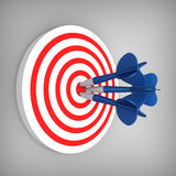 Darts hit accurate on the target Royalty Free Stock Photos