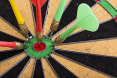 The darts hit the target Stock Images