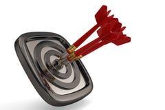 Darts hit target isolated on white background. 3D illustration. vector illustration