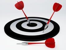 Darts hit target.  white Royalty Free Stock Photo