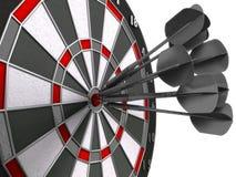 Darts hitting bulls eye. Darts hitting directly in bulls eye stock image