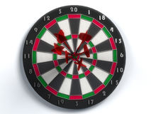Darts hitting bulls eye Royalty Free Stock Photo